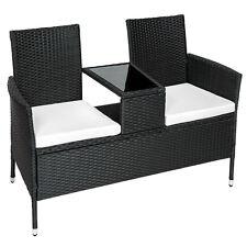 Salon de jardin canapé banc avec table intégrée résine tressée poly rotin noir