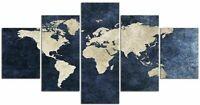 Tableau Planisphère Déco Murale Carte Du Monde Polyptyque Impression Sur Toile