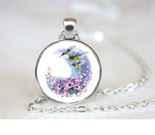 Humming bird-Hibiscus PENDANT NECKLACE Chain Glass Tibet Silver Jewellery