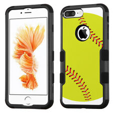 For Apple iPhone 8 PLUS Phone Case (3-Layer Blk/Blk) - Softball Green