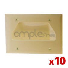 10x Wall Plate 3 Triple Recessed Low Voltage Cable Decora Lite Almond Lot NEW