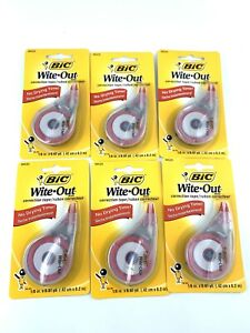 Bic Wite Out Correction Tape, Lot Of 6