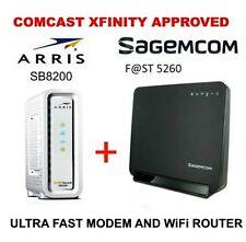 ARRIS SB8200 DOCSIS 3.1 Gigabit Cable Modem + Sagemcom FAST 5260 WiFi Router