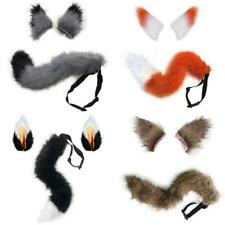 Deluxe Faux Fur Fox Tail Ears Costume Set Halloween Cosplay Party Furry Wolf