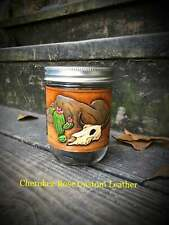 Southwestern Hand Painted Leather Mason Jar Cozie, Buffalo, Cactus, Cow Skull