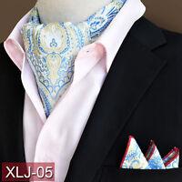 Hot Sale Men Fashion Paisley Cravat Handkerchief Ascot Scarf Pocket Square Set