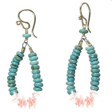 Maui 186 ~ Turquoise & Coral Loop Earrings with Metal Choice