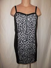 Torrid Size 4 Leopard Print Panel Zip Front Fitted Strappy Dress Black Gray NWT