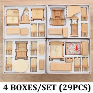 New 29 Pcs 1:24 Scale Dollhouse Miniature Unpainted Wooden Furniture Model  e q