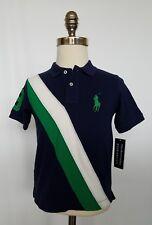 Ralph Lauren Boys Polo Shirt Banner Short Sleeve Navy White Green Navy 4/4T NWT