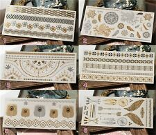 6 Sheet Gold Silver Metallic Flash Temporary Tattoo Inspired Body Makeup Sticker