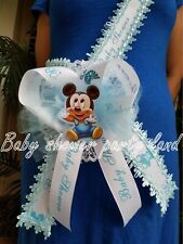 Baby Shower Mickey Mouse Mom To Be It's a Boy Sash Blue Ribbon with Corsage