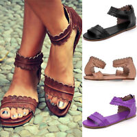 Summer Womens Flat Sandals Leather Zipper Open Toe Ankle Strap Beach Shoes