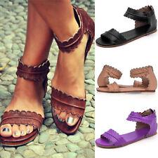 Ladies Low Flat Heel Women Zip Back Gladiator Sandals Summer Casual Shoes Size