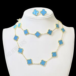3P Turquoise Motif Jewelry Set Gold Leaf Clover (Necklace - Bracelet - Earrings)