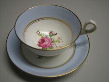 Vintage Old Royal England Wetley Rose Footed Teacup & Saucer Bone China