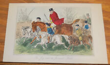 1858 Antique Fox-Hunting COLOR Print///THE JUG AND HIS JUVENILE FIELD