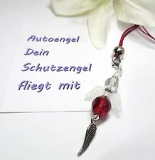 Neu Eleganter Schutzengel fürs Auto / Rückspiegel Anhänger, Glück Rot, Nylonband