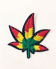 JAMAICAN POT LEAF WEED GANJA MARIJUANA IRON ON EMBROIDERED APPLIQUE PATCH USA