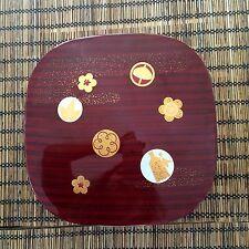 Shokado Bento Large Japanese lunch box partition red black sakura plastic
