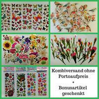 50 Sticker Frühling Aufkleber Vögel Sommer Blumen Schmetterlinge transparent