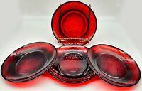 "VINTAGE D'ARCOROC LUMINARC FRANCE RUBY RED GLASS SALAD PLATES 8"" SET OF 4"