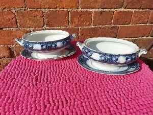 Pair of Royal Semi Porcelain Vintage Blue & White Tureens by Wedgewood & Co Ltd