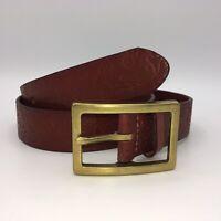 Liz Claiborne Genuine Leather Red Belt Womens Medium Floral Embossed NEW $32