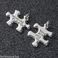 3Sets Charms Anhänger für Halskette Puzzle mit Binderinge 27x20mm 25x19mm L/P