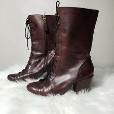 FOSSIL Shay womens Leather Mid-Calf Granny Lace Up Boots Brown/Burgundy Size 8