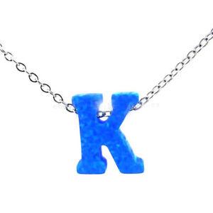 925 Silver Alphabet Letter Article Words K Opal Pendant Necklaces Gift Wholesale