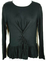 Mossimo Tunic Top Black Tied Ruched Front Jersey Stretch Knit Peasant Blouse NEW