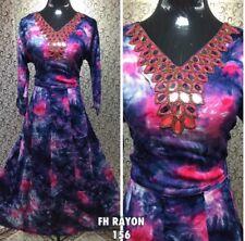 """44"""" XL Rayon Kurti Kurtis Top Tunic Kaftan Indian Bollywood Kurthi Blue Pink J26"""