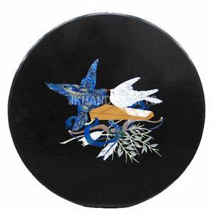 "24"" Marble Coffee Side Table Top Lapis Lazuli Pigeon Inlay Hallway Decor Gift"