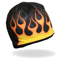 HD Sublimation Black Orange Yellow Pinstripe Flame Biker Stocking Cap Beanie Hat