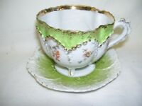 Antique Cup and Saucer Green with Gold Trim