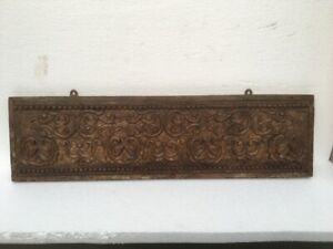 Ancient Old Rare Wood Hand Carved Fine Floral Hanger Wall Panel