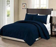 King/California king over size 3 pc Geo Bedspread Bed-cover solid Navy Blue