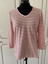 Dash Orange White Stripe V Neck Top Size 12