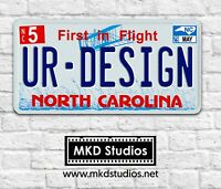 US License Plate - Aluminium North Carolina Blue Printed Plate