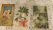 lot 3 Antique Christmas Post Card embossed 1909 maddona doves postmark Bangor Ma