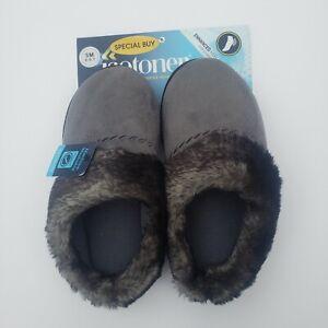 Isotoner Women's Faux Fur Slip-On Slipper-Enhanced Heel Cushion -SM 6.5-7 - NWT