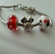 Disney Minnie Mouse Dangle Charm Bead Fits European Style Bracelet 3pcs