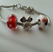 Disney Minnie Mouse Dangle Charm Bead Fits European Style Bracelet 3pcs