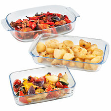 VonShef 3pc Glass Roasting Dish Set - Baking Oven Casserole Pan Kitchen Bakeware