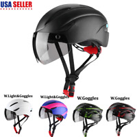 Night Cycling Helmet Bike Bicycle Helmet with Light and Goggles Outdoor USA