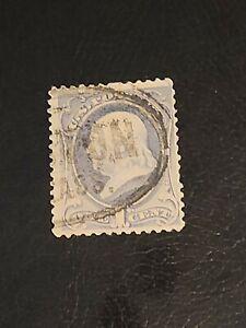 US Stamp 1881-82  Scott# 206 1 Cent Ben Franklin  used  Ultramarine - #4058