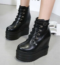 Women's Wedge High Heels Platform Lace Up Ankle Boots Solid High Top Shoes Size