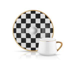 Koleksiyon Turkish coffee set ( Chess model ) cups & saucers ( 6 pcs )