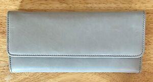 Nwt Women's Hobo International Leather Trifold Wallet, Sadie, Cloud Grey